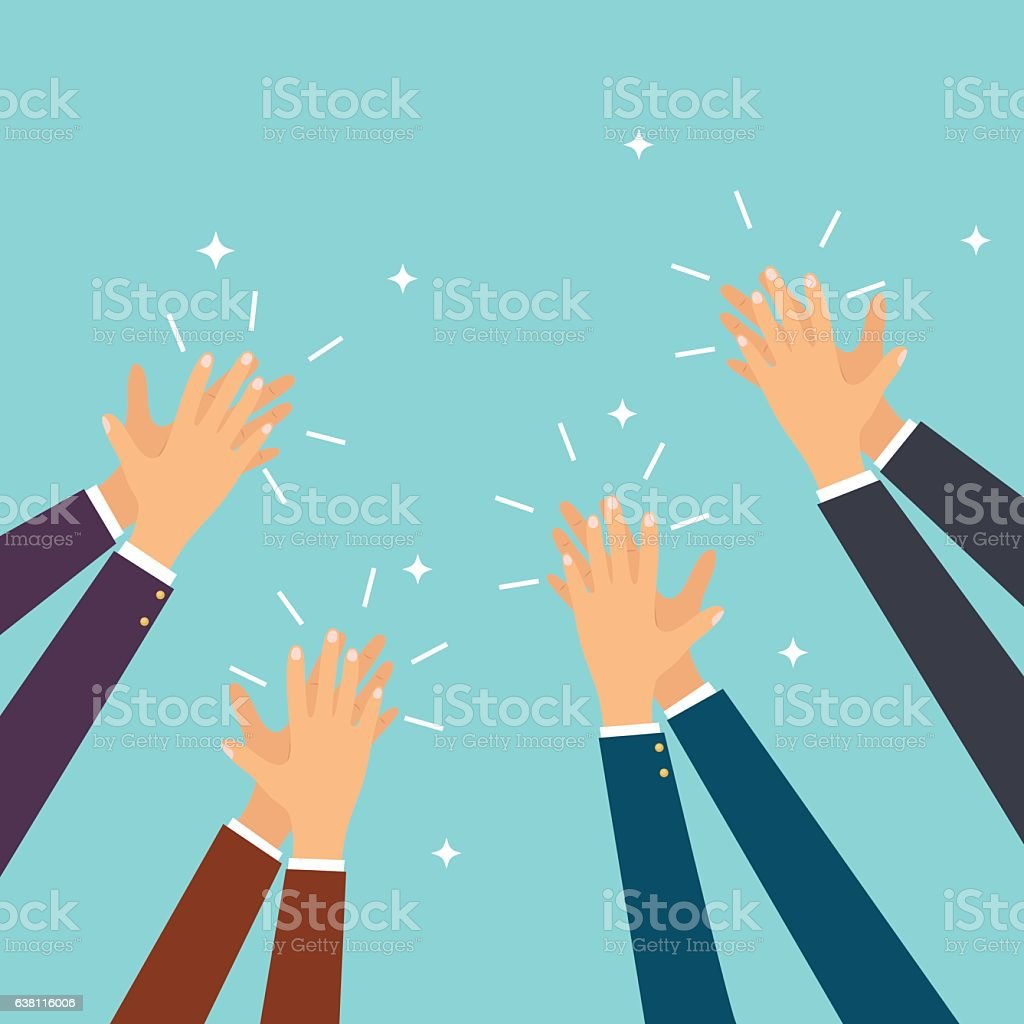 Human hands clapping. Flat design modern vector illustration vector art illustration
