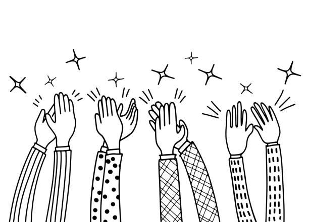 bildbanksillustrationer, clip art samt tecknat material och ikoner med mänskliga händer klappar ovationer. doodle stil, vektorillustration - celebrate