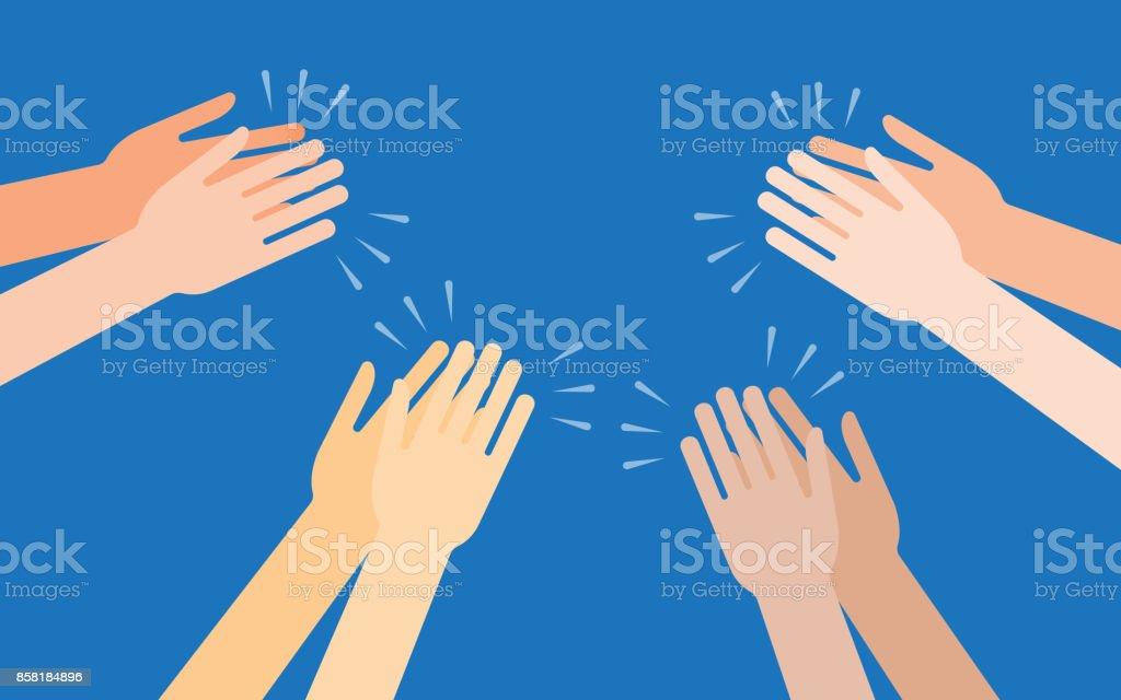 Human hands clapping ovation vector art illustration