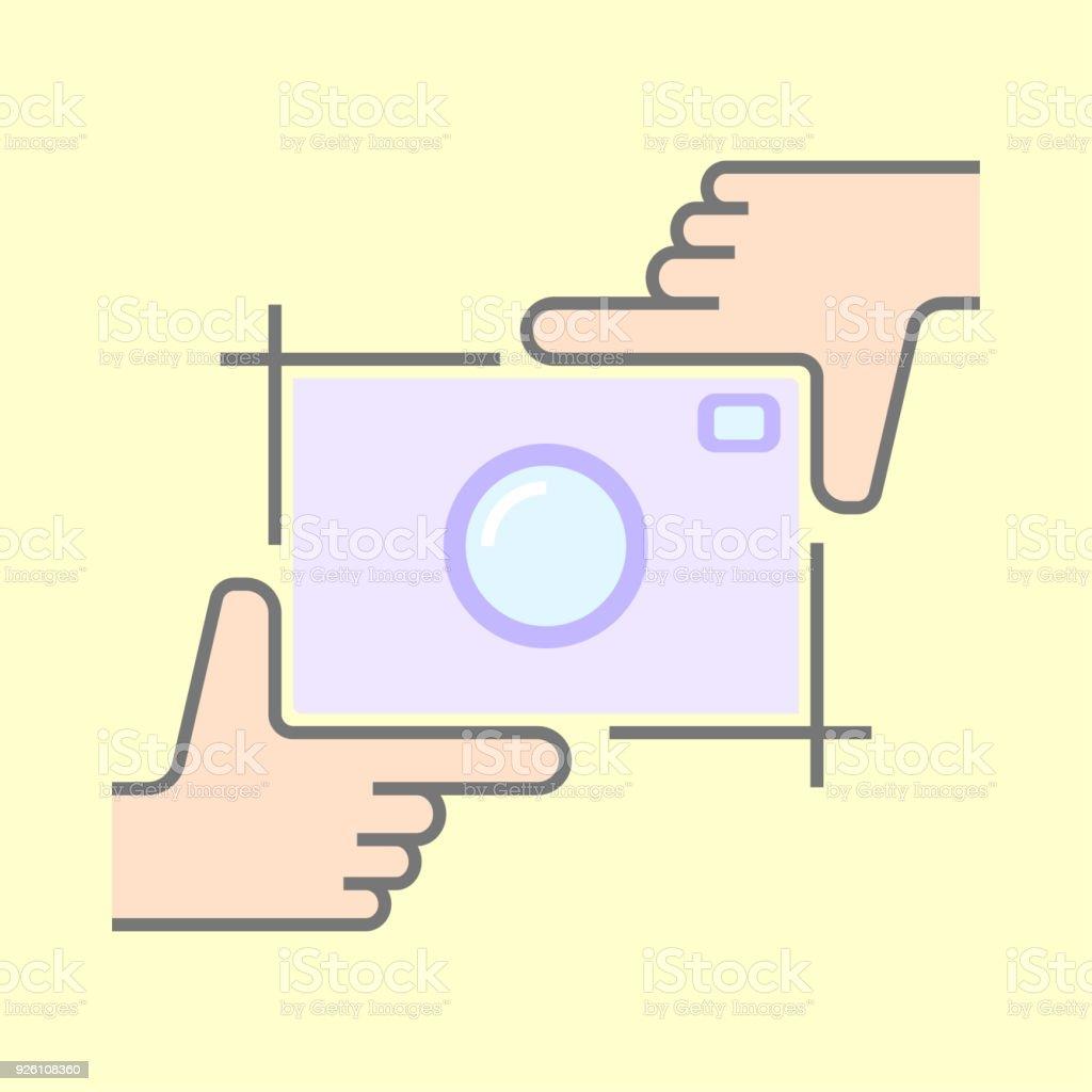 Menschliche Hände Tun Zuschneiden Symbol Isoliert Rahmung Hände Und ...