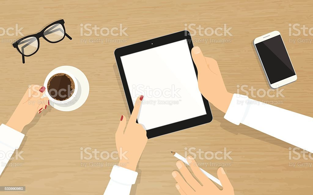 Human hands hold a tablet pc with empty display vector art illustration