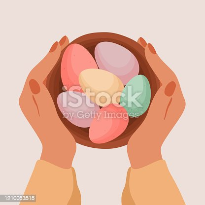 Human hands hold Easter basket with decorated eggs top view. Chocolate colorful eggs for spring religious holiday celebration. Vector illustration