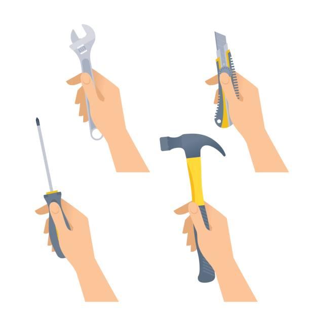 Human hands hold small tools: hammer, spanner, screwdriver, knife. vector art illustration