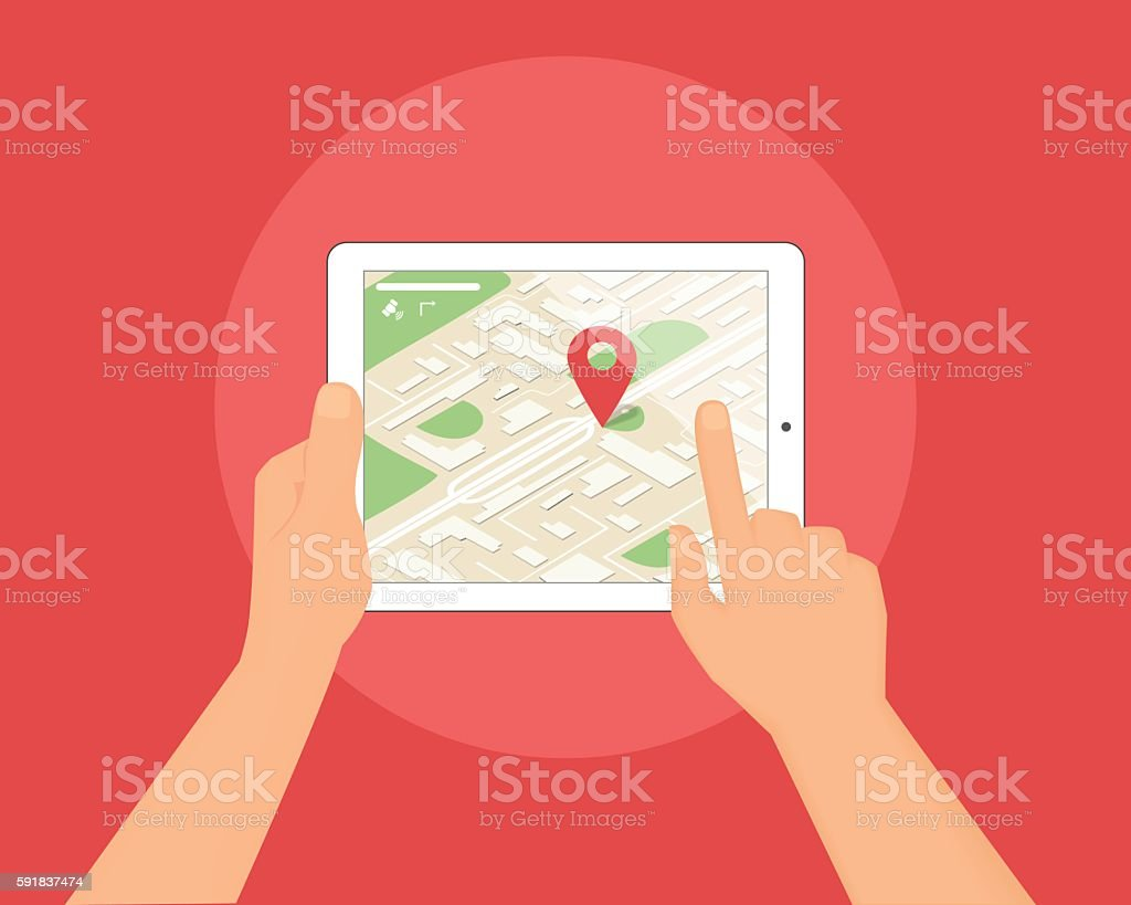 Human hands hold tablet pc with map and location pin vector art illustration