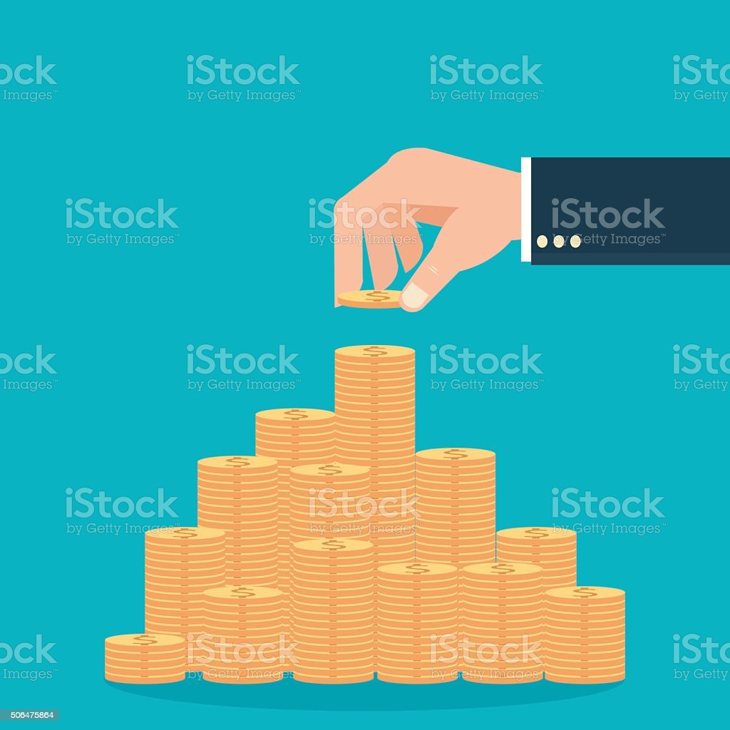 Human hands holding coins and build coin graph. vector art illustration