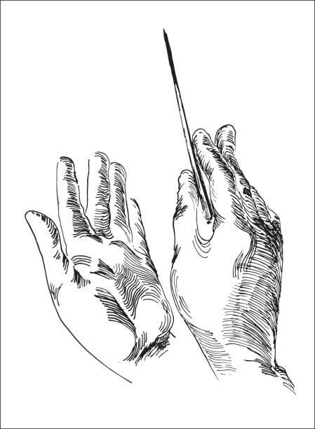 human hands holding conductor's baton - muzyka poważna stock illustrations