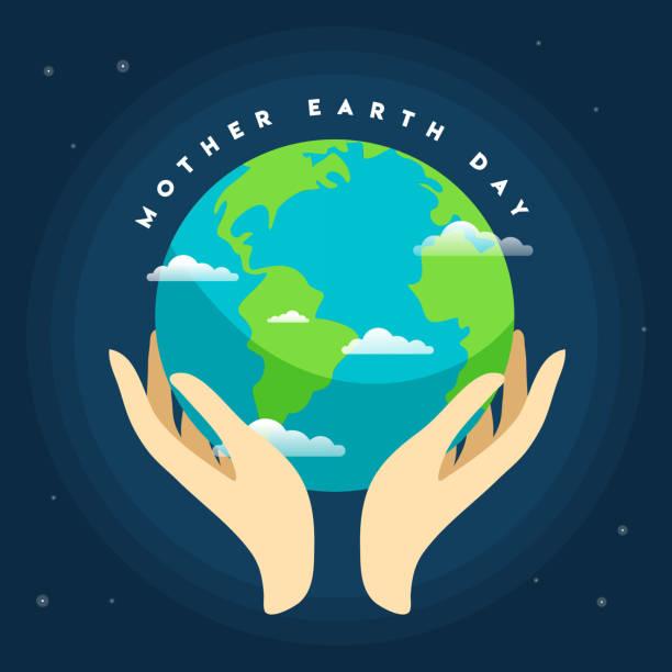 ilustrações de stock, clip art, desenhos animados e ícones de human hands holding globe in space. save our planet concept. - terra