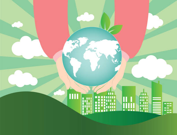 human hands holding globe on city and world map of clouds background human hands holding globe on city and world map of clouds background corporate responsibility stock illustrations