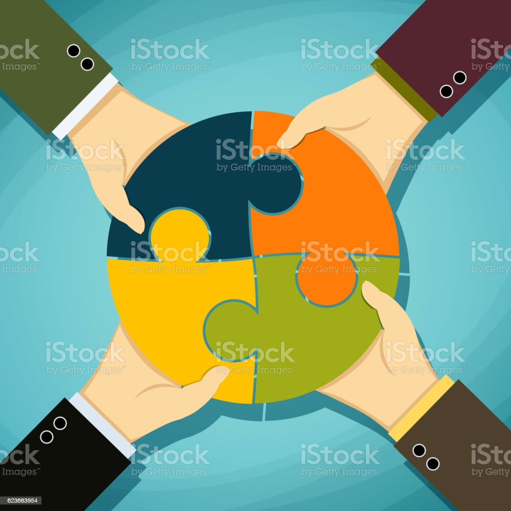 Human hands holding pieces of a puzzle. vector art illustration