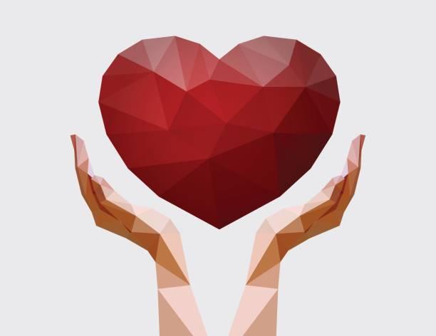 stockillustraties, clipart, cartoons en iconen met menselijke handen met veelhoekige hart. liefde, vrede en donatie concept. liefdadigheidsevenement. vectorillustratie voor non-profit organisatie - non profit