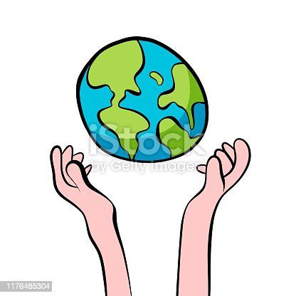 Vector illustration of human hands holding the world. Cartoon and colorful style. Perfect for design projects, social issues ideas and concepts, technology and business, as well as social media platforms.