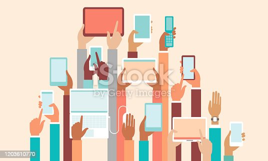 Human hands holding various smart devices copyspace flat vector illustration