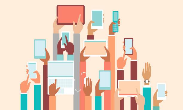 Human hands holding various smart devices copyspace design vector art illustration