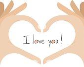 Human hands making a vector heart shape. I love you!