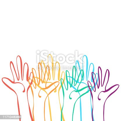Vector illustration of a group of human hands with the colors of the rainbow flag. Good for design projects, backgrounds, social media ideas and concepts and marketing and business.