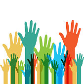 human hands raised with differents colors