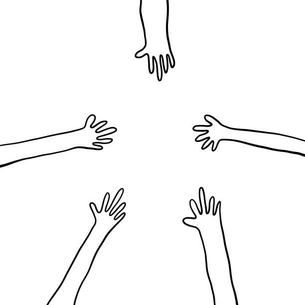 illustrazioni stock, clip art, cartoni animati e icone di tendenza di human hands reaching out pencil drawings - mano donna dita unite