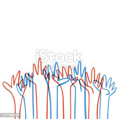 istock Human hands reaching out USA flag colors 1277964901