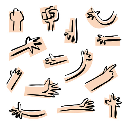 Human hands sketch illustrations collection
