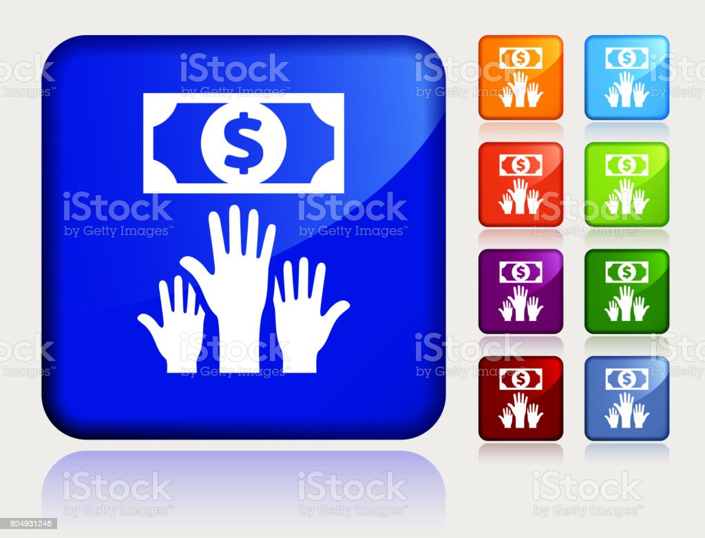 Human Hands Try To Touch Money. vector art illustration