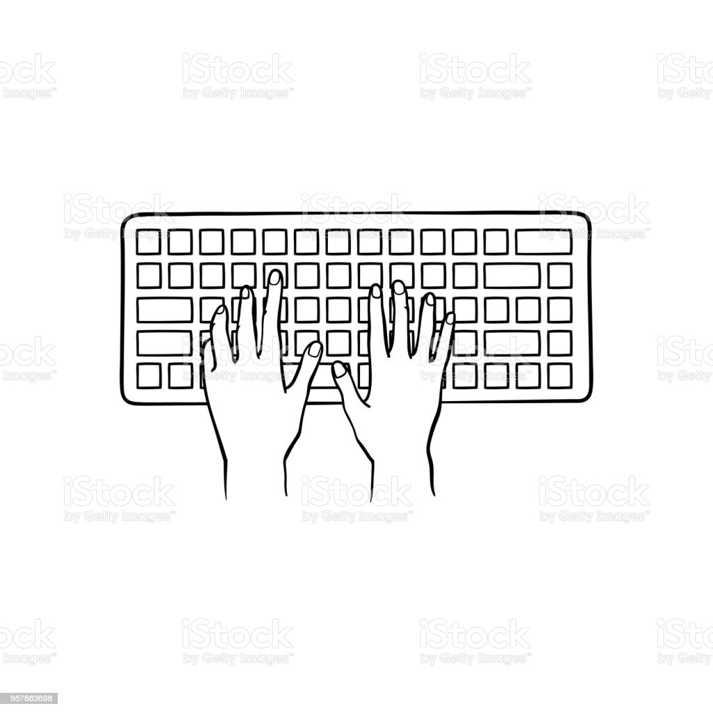 Human Hands Typing On Computer Keyboard Pushing Buttons With