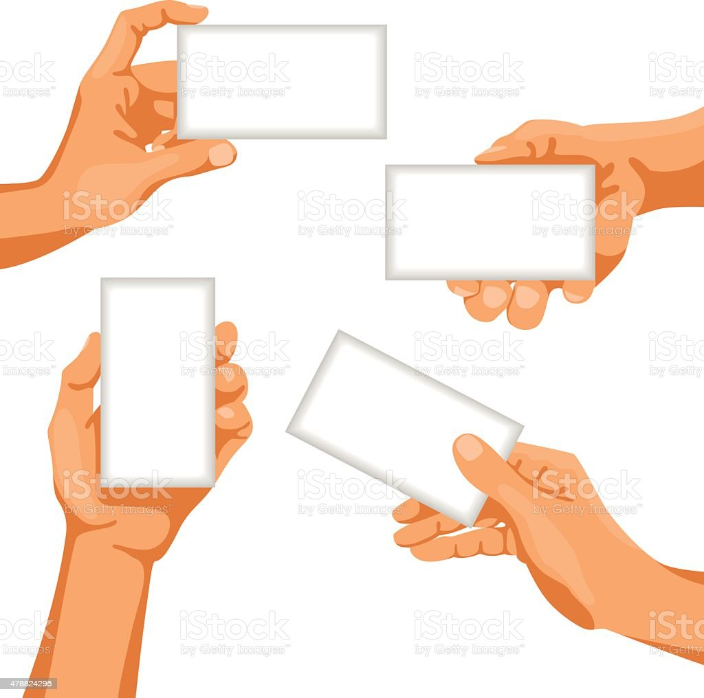 Human hands with business cards in them vector art illustration