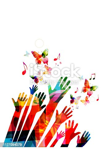 Human hands with butterflies and music notes colorful vector illustration design