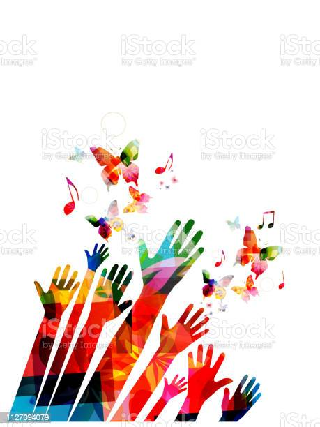Human hands with butterflies and music notes colorful vector design vector id1127094079?b=1&k=6&m=1127094079&s=612x612&h=cvben51tfjbohle0bce3g5v wcf wkkssm xf4jwpbw=