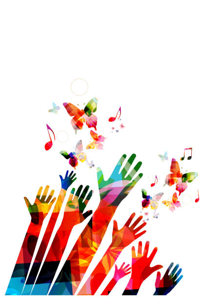 Human hands with butterflies and music notes colorful vector illustration design Human hands with butterflies and music notes colorful vector illustration design children only stock illustrations