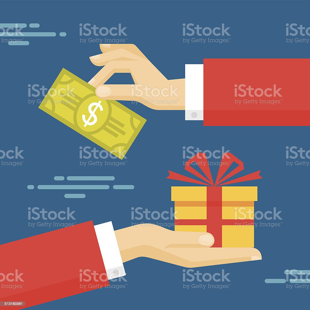 Human Hands with Dollar Money and Present Gift vector art illustration