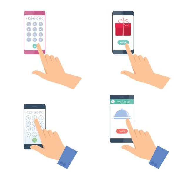 Human hands with mobile phones set. vector art illustration