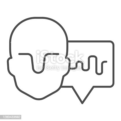 Human head and audio track thin line icon, Sound design concept, Soundwave music and male avatar sign on white background, Sound wave and head silhouette icon in outline style. Vector graphics