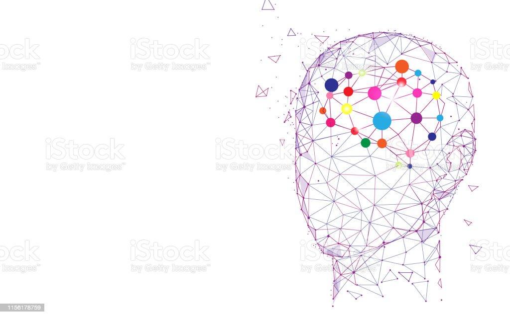 Menselijk hoofd en hersenen. Creatie en idee concept - Royalty-free Abstract vectorkunst