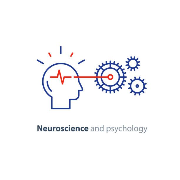 Human head and gear wheel mechanism, brain study, artificial intelligence icon vector art illustration