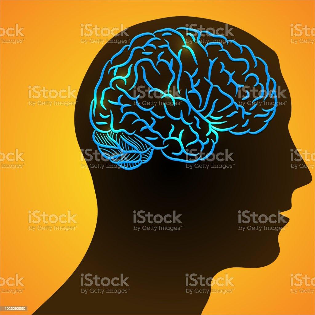 Human head and ill brain - illustrazione arte vettoriale