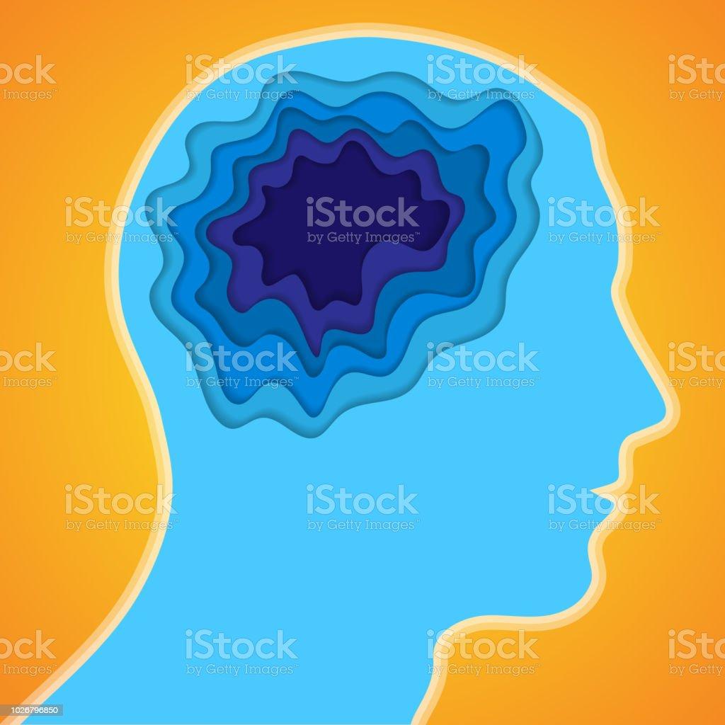 Human head and paper brain - illustrazione arte vettoriale
