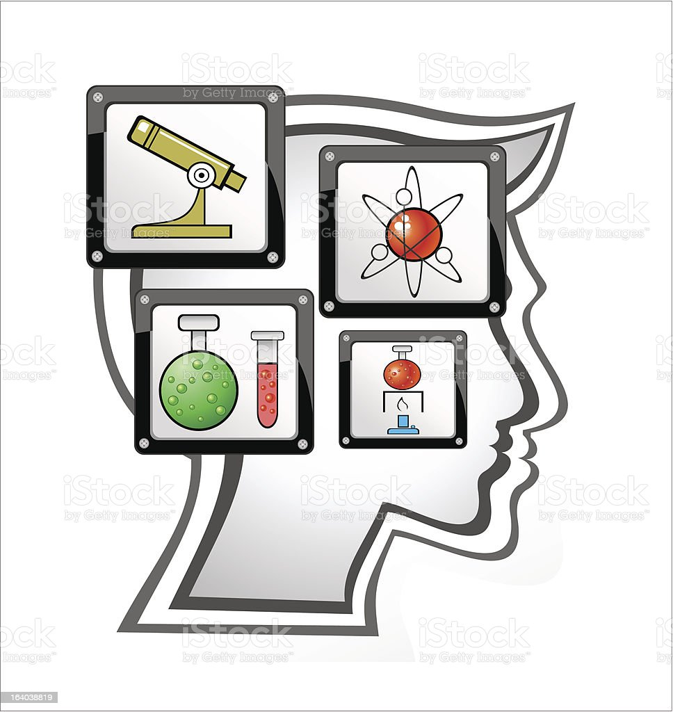 Human head and science icon royalty-free stock vector art