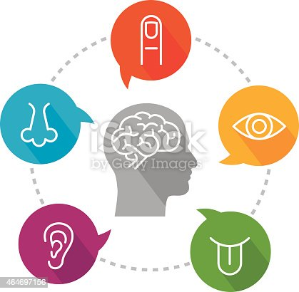 An illustration depicting sensory receptors. Icon set includes icon for vision (eye); icon for hearing (ear); icon for smell (nose); icon for taste (tongue) and icon for touch (finger). Icons are put inside speech bubbles which are placed on a circular line. In the middle there is a head with a brain icon inside it. Icons are white, very simple and created in a