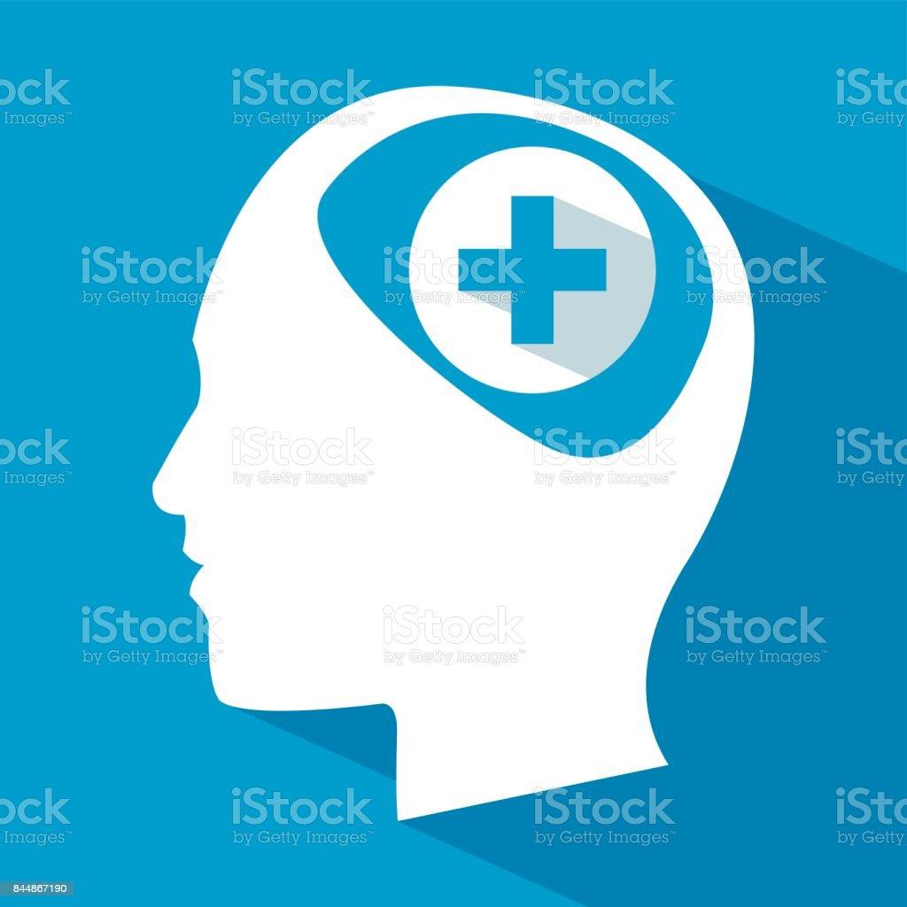 cuidados do cérebro humano cabeça Cruz - ilustração de arte em vetor