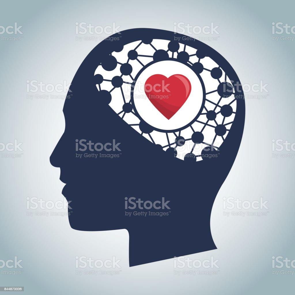 Ein Menschlicher Kopf Des Gehirns Herzfunktion Medizinische Stock ...