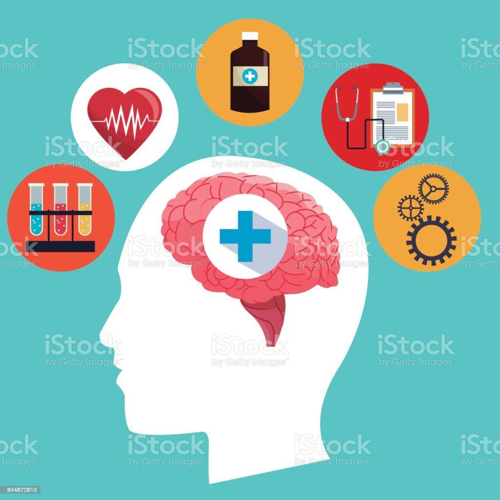 Menschliche Gehirn Kopf Medizin Symbol Konzept Vektor Illustration ...