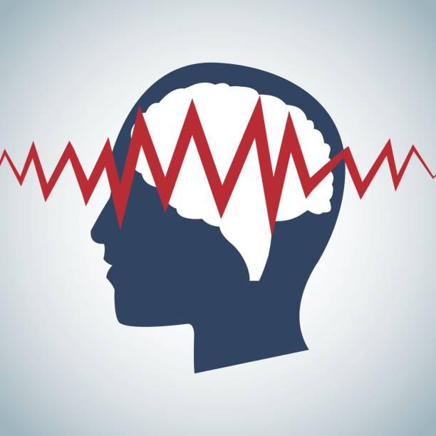 illustrazioni stock, clip art, cartoni animati e icone di tendenza di human head brain pulse care - elettrodo