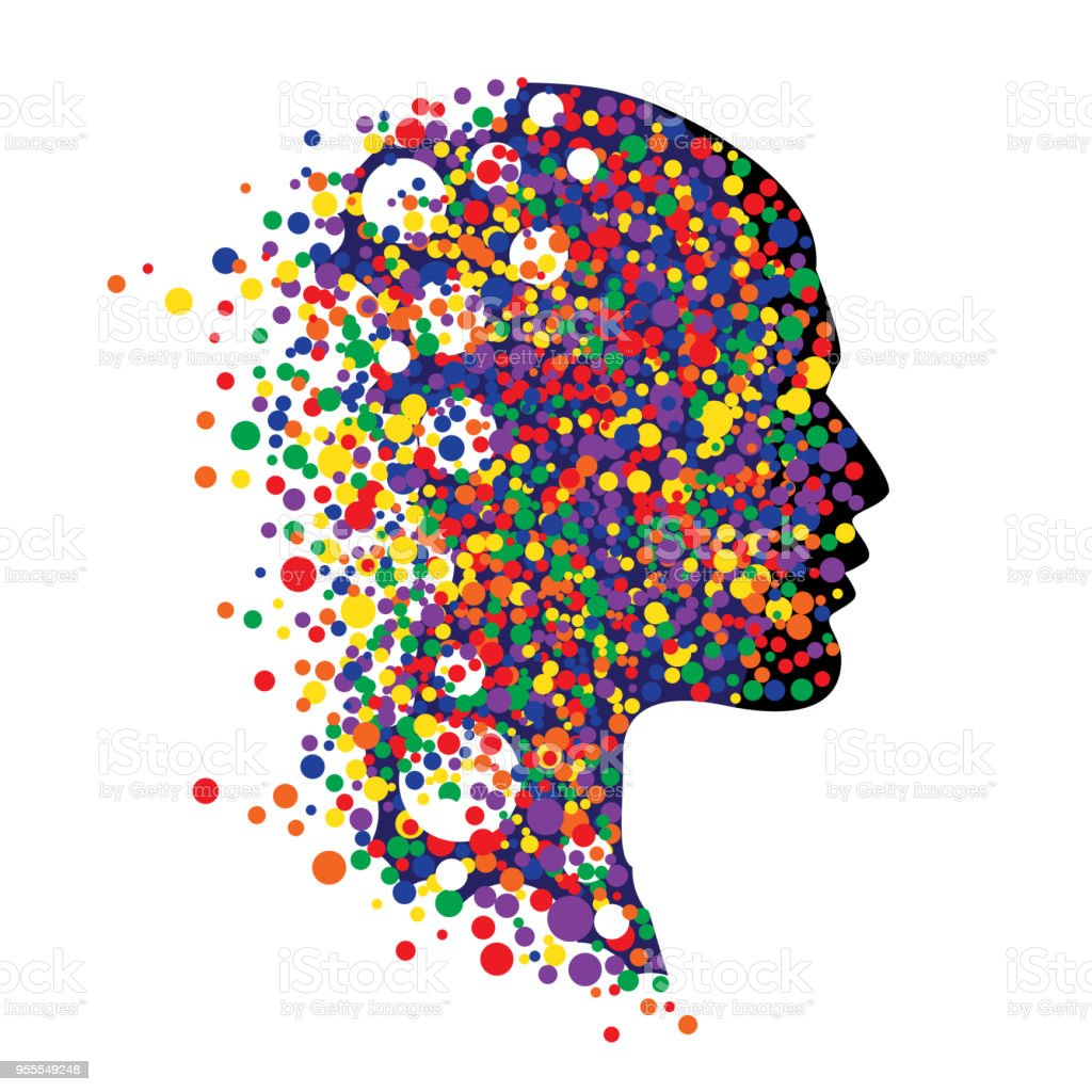Human head isolated on white. Abstract vector illustration of face  with colorful circle vector art illustration