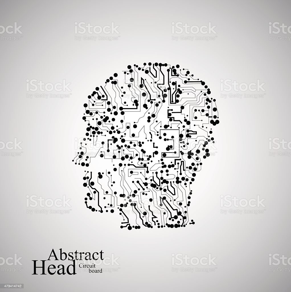 Human Head Made Out Of Circuits Stock Vector Art & More Images of ...