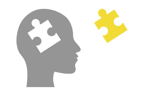 Human head of puzzle vector art illustration