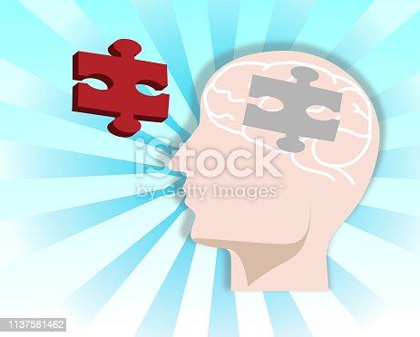 Human head of puzzle.Vector