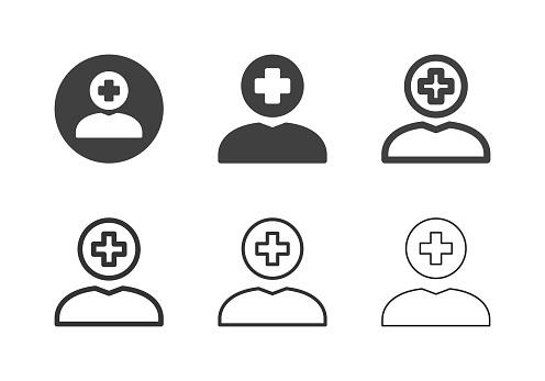 Human Head Plus Sign Icons - Multi Series