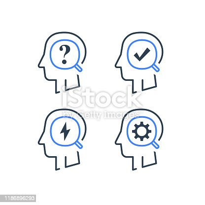 Human head profile and magnifying glass line icon set, decision making or behavior, intellect training, education concept, sociology research, opinion poll, vector linear design