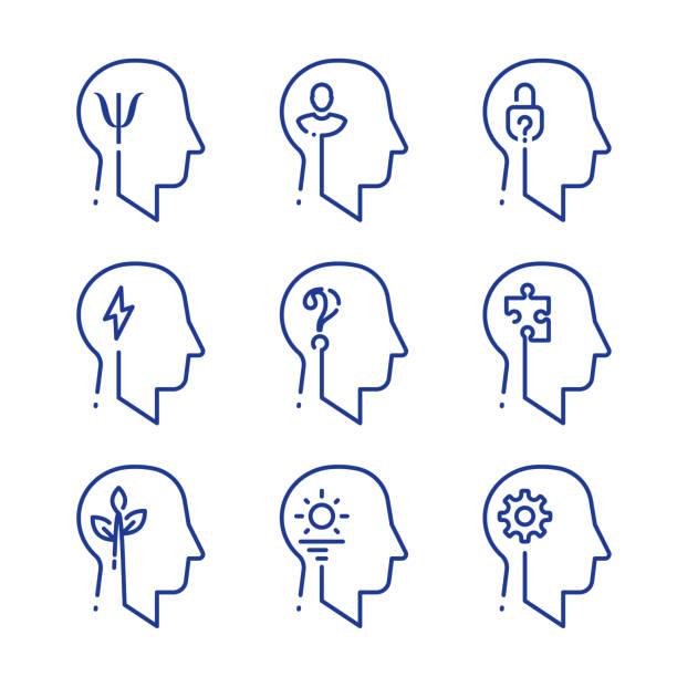 Human head profile line icon set, cognitive psychology or psychiatry, intellect training Human head profile line icon set, cognitive psychology or psychiatry. Intellect training, logic and memory improvement, decision making or behavior concept, vector linear design attitude stock illustrations