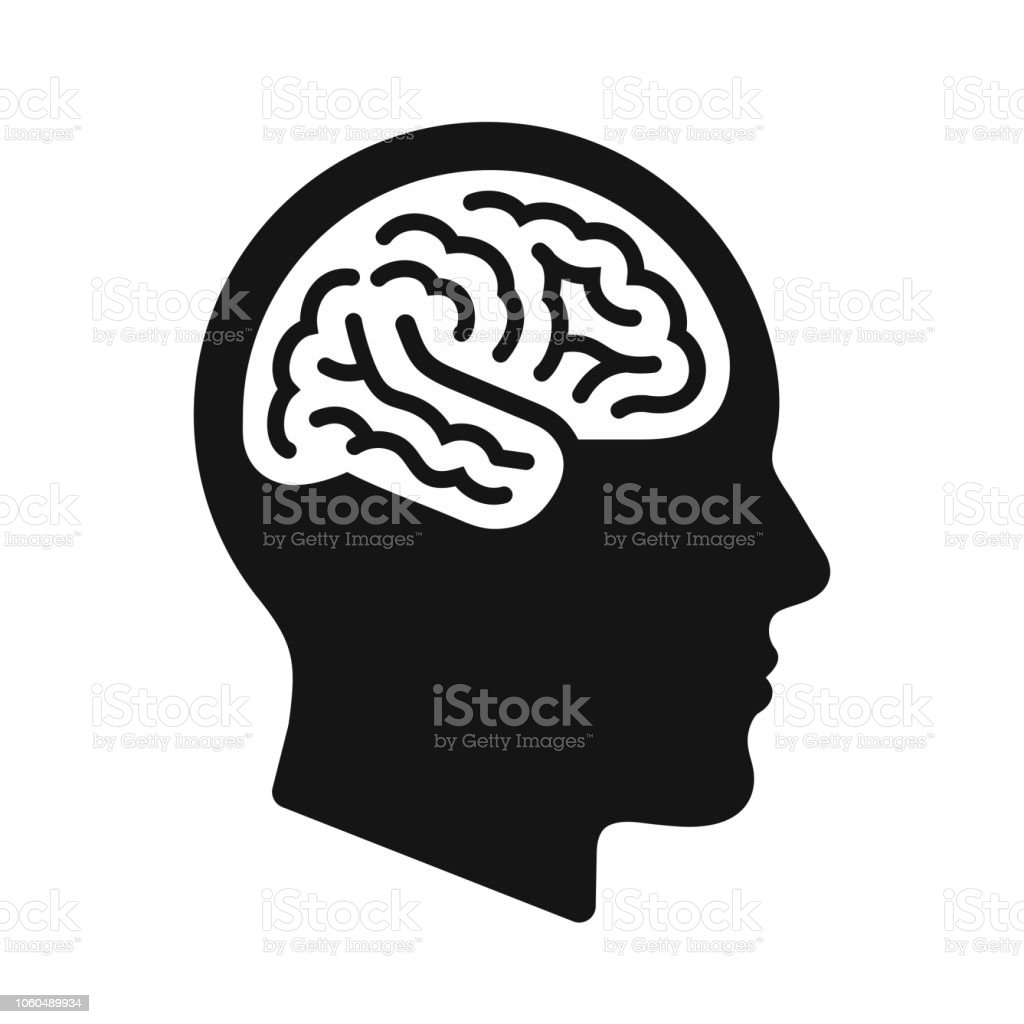 Human head profile with brain symbol, black icon vector illustration royalty-free human head profile with brain symbol black icon vector illustration stock illustration - download image now